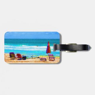 paraguas painterly de las tablas hawaianas de las etiquetas de maletas