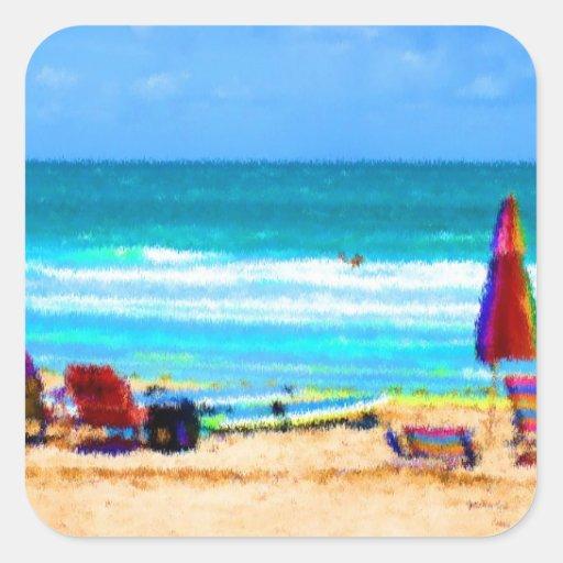 paraguas painterly de las tablas hawaianas de las calcomanía cuadradas