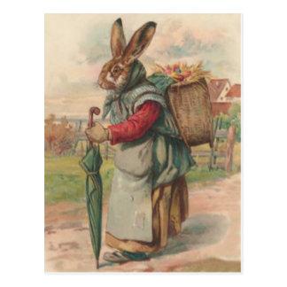 Paraguas pintado coloreado del huevo del conejito  postales