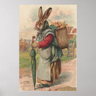 Paraguas pintado coloreado del huevo del conejito  póster