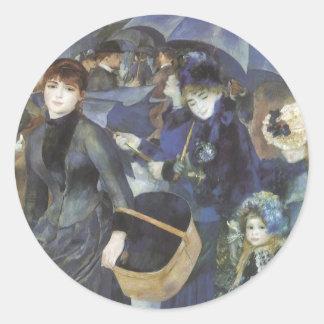 Paraguas por Renoir, arte del impresionismo del Etiquetas Redondas