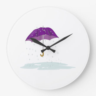 Paraguas púrpura en la lluvia relojes