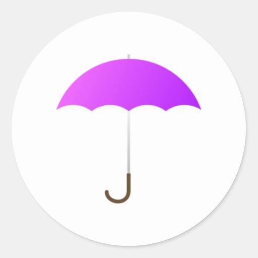 Paraguas púrpura etiquetas redondas