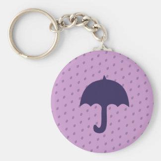 Paraguas púrpura llavero redondo tipo pin