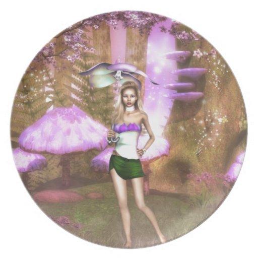 Paraguas púrpura plato para fiesta