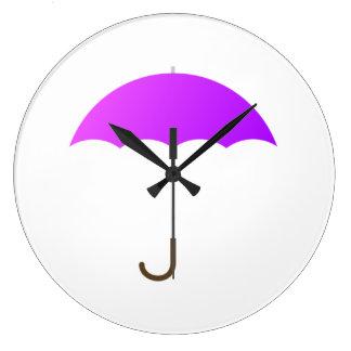 Paraguas púrpura reloj de pared