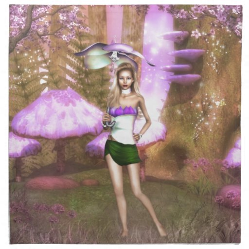 Paraguas púrpura servilletas imprimidas
