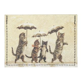 Paraguas rayados de los gatos del vintage que tarjeteros tyvek®