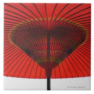 Paraguas rojo 2 azulejo cuadrado grande