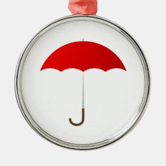 Paraguas rojo adorno navideño redondo de metal