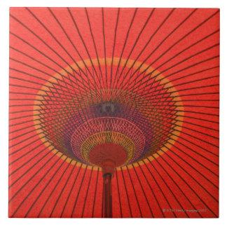 Paraguas rojo azulejo cuadrado grande