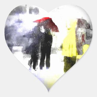 Paraguas rojo calcomanía de corazón
