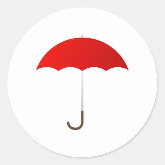 Paraguas rojo pegatina redonda