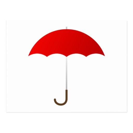 Paraguas rojo tarjetas postales