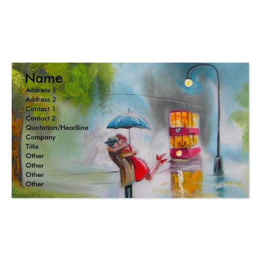 Paraguas romántico de los pares de la tranvía roja tarjeta de visita