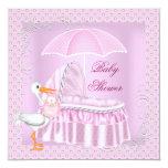 Paraguas rosado Bassinette del chica de la fiesta Comunicado Personalizado