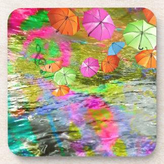 Paraguas sobre el mar posavaso