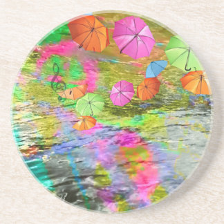 Paraguas sobre el mar posavasos manualidades