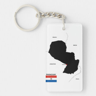 paraguay country political map flag keychain
