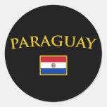 Paraguay de oro pegatina redonda