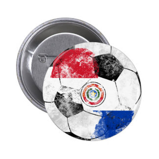 Paraguay Distressed Soccer 2 Inch Round Button