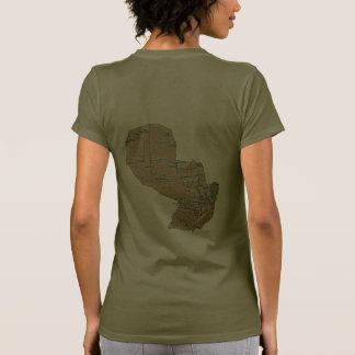 Paraguay Flag and Map dk T-Shirt Tshirt