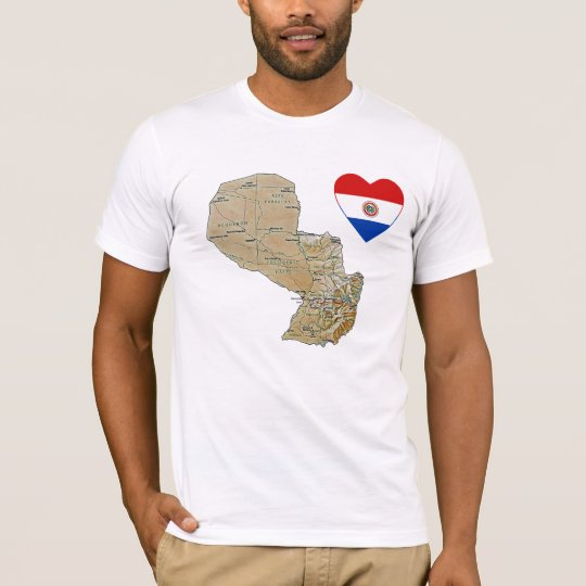 Paraguay Flag Heart and Map T-Shirt