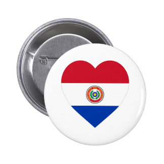 Paraguay Flag Heart 2 Inch Round Button