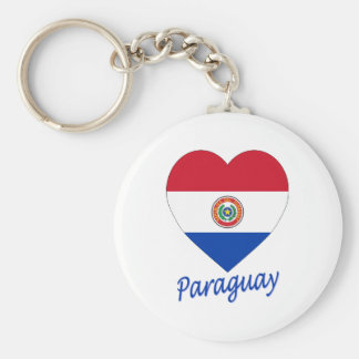 Paraguay Flag Heart Keychains
