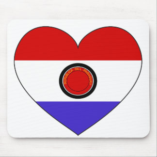 Paraguay Flag Heart Mouse Pad