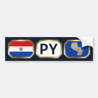 Paraguay Flag Map Code Bumper Sticker Car Bumper Sticker