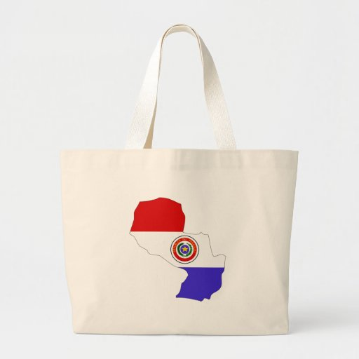Paraguay Flag Map full size Tote Bag