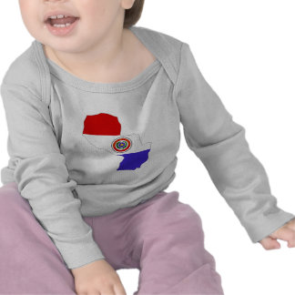 Paraguay Flag Map full size Tee Shirts