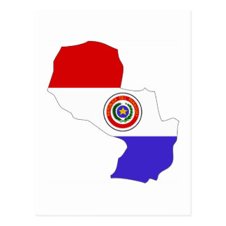 Paraguay flag map post cards