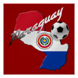 Paraguay flag soccer ball map of Paraguay gifts Print