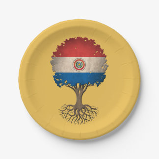 Paraguay Flag Tree of Life Customizable 7 Inch Paper Plate