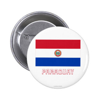 Paraguay Flag with Name 2 Inch Round Button
