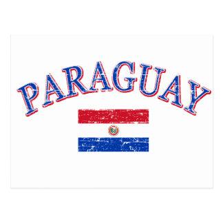 Paraguay football design postcard