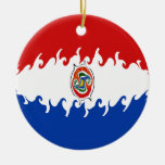 Paraguay Gnarly Flag Double-Sided Ceramic Round Christmas Ornament