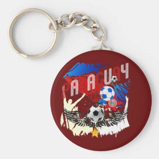 Paraguay Grunge Futbol Guaraníes La Albirroja Keychain