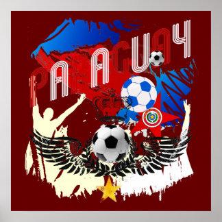 Paraguay Grunge Futbol Guaraníes La Albirroja Poster