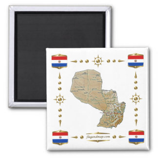 Paraguay Map + Flags Magnet