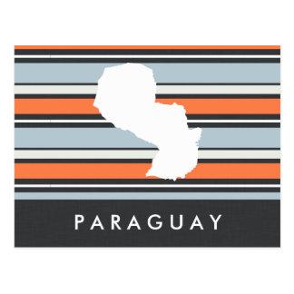 Paraguay Map: Modern Stripes Postcard