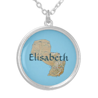 Paraguay Map + Name Necklace
