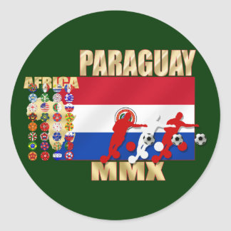Paraguay MMX 2010 Futbol fans soccer gifts Classic Round Sticker