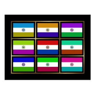 Paraguay Multihue Flags Postcard