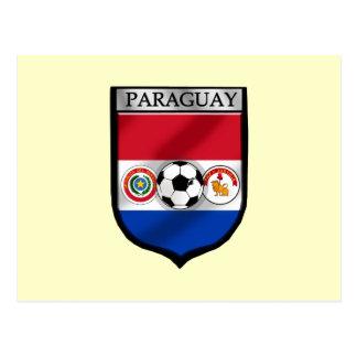 Paraguay Soccer futbol fans Paraguayan flag Shield Postcard