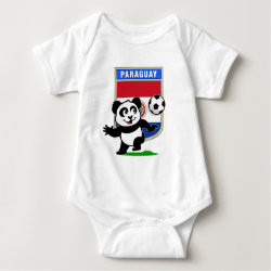 Baby Jersey Bodysuit with Paraguay Football Panda design
