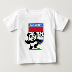 Baby Fine Jersey T-Shirt with Paraguay Football Panda design