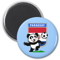 Round Magnet with Paraguay Football Panda design